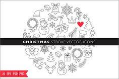 Christmas Stroke Icons set by Marish on @creativemarket
