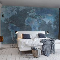 I'm so not a wallpaper fan but this would look great in my office. World Map Wallpaper - Rebel Walls.