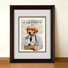 "Fine Art Print: -  ""Lab Report"" - 8.5"" x 11"" print, whimsical dog print, Veterinary gift,  Doctor gift, Medical intern gift, Labrador Lover by ArtOfThePage on Etsy https://www.etsy.com/listing/180581061/fine-art-print-lab-report-85-x-11-print"