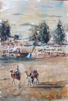 "Landscape in Egypt Watercolor Painting Art Original 7.1/2"" X 11""  | eBay"