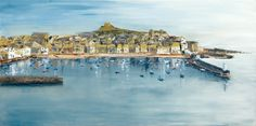 St Ives Harbour. Prints and cards from original artwork available.