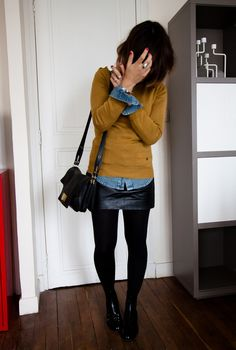 Mustard denim & leather