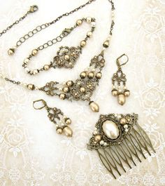 Gold Swarovski Vintage Style Wedding Jewelry Set - Ivory Pearl Antique Victorian Style Bonze Necklace Earrings Hair Comb Rustic Wedding by ArdentHearts on Etsy https://www.etsy.com/listing/267687539/gold-swarovski-vintage-style-wedding