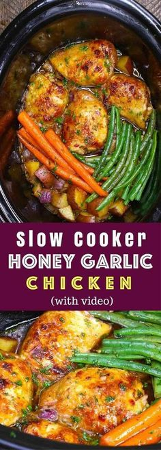 The easiest, most unbelievably delicious Slow Cooker Honey Garlic Chicken With V.The easiest, most unbelievably delicious Slow Cooker Honey Garlic Chicken With Veggies. It's one of my favorite crock pot recipes. Succulent chicken cooked in hon Crockpot Dishes, Crock Pot Slow Cooker, Crock Pot Cooking, Cooking Recipes, Crock Pot Dinners, Chicken Crock Pot Meals, Easy Cooking, One Pot Dinners, One Pot Chicken