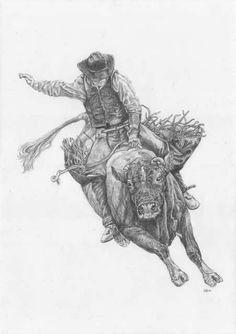 Bull Riding Drawings | Rodeo Four Drawings - WetCanvas