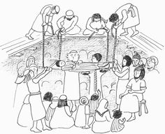 man lowered through roof Sunday School Crafts, School Fun, Colouring Pages, Coloring Sheets, Jesus Drawings, Bible Crafts For Kids, Jesus Heals, Bible News, Bible Stories