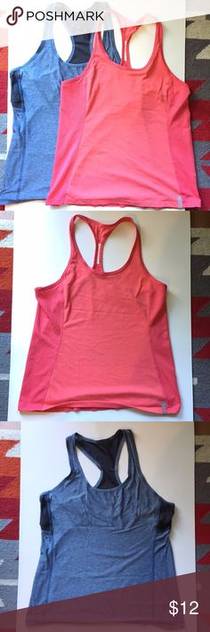 Bundle of 2 tank tops Bundle of two tank tops, both size small. The pink one is Under Armour, I don't remember what the blue one is. Both are in great used condition and very breathable! BUNDLE 2 AND GET 20% OFF!! Under Armour Tops Tank Tops