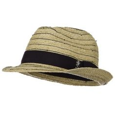 a6e01aa4eda50 ML Skull Band Straw Fedora Hat- Natural Black