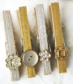 Use these beautifully embellished clothespins to display products, or just hang pics on the fridge.