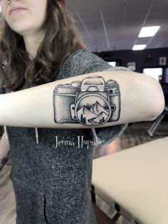 Dot work camera tattoo mountain scenery