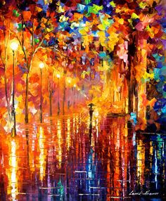 """Dreaming Rain — PALETTE KNIFE Cityscape Modern Wall Art Textured Oil Painting On Canvas By Leonid Afremov - Size: 24"""" x 30"""" (60 cm x 75 cm)"""
