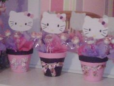 Hello Kitty centerpieces with marshmallow lolipops...this would be cute for Gracie's 2nd birthday party!!!
