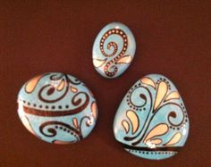 Hand Painted Rocks Set Of 3 in Crafts, Handcrafted & Finished Pieces, Handpainted Items | eBay