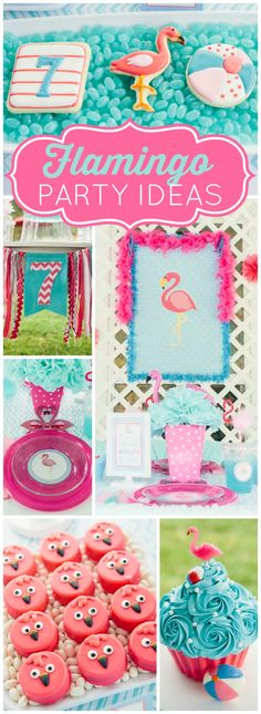 What a fantastic flamingo pool party! See more party ideas at CatchMyParty.com!