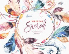 Sacred Wreaths. Watercolor Clipart. Native tribal feathers