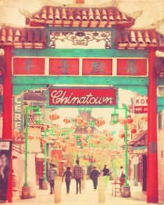 Sale, Chinatown photograph. Los Angeles California red paper lanterns chinese asian decor urban travel architecture, photo of LA Chinatown. $5.00, via Etsy.