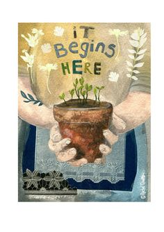 Greeting card reproduced from an original mixed media by Rachel Grant. 125 x with off-white paper envelope. Published by Canns Down Press. Rachel Grant, Art Grants, Garden Illustration, Sand Crafts, Poster S, New Artists, British Artists, Illustrations, Garden Art