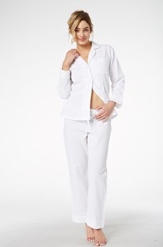 White Seersucker Cotton PJ 1002-C-642