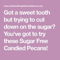 Got a sweet tooth but trying to cut down on the sugar? You've got to try these Sugar Free Candied Pecans!
