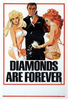 James Bond 'Diamonds Are Forever' poster. Illustration by Robert McGinnis