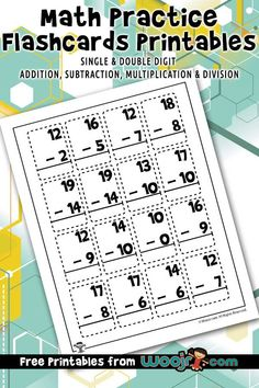 Math practice flashcards printables, including worksheets for addition, subtraction, multiplication and division for & grade levels. Teacher Worksheets, Free Printable Worksheets, Printables, Math Tools, Math Skills, Classroom Activities, Activities For Kids, Multiplication And Division, Simple Math