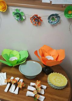 Check out this item in my Etsy shop https://www.etsy.com/listing/519706852/festive-paper-flower-party-bowls-paper
