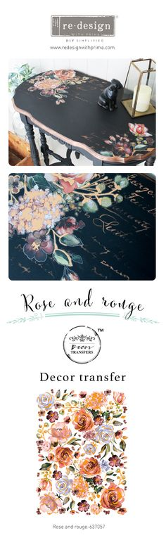 New Decor Transfer™ Winter 2019 Redesign prima transfer Rose & Rouge. Buy the transfers in my online store at Restyled Renewed .com - Mobilier de Salon Furniture Fix, Decoupage Furniture, Diy Furniture Projects, Hand Painted Furniture, Refurbished Furniture, Upcycled Furniture, Furniture Making, Furniture Makeover, Furniture Online