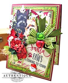 Authentique Paper Santa Paws is Coming to Town Card Folio Tutorial by Kathy Clement Photo 01 Christmas Gifts For Pet Lovers, Perfect Christmas Gifts, Handmade Christmas, Vintage Christmas, Christmas Crafts, Xmas, Red Licorice, Pocket Scrapbooking, Card Making Tutorials
