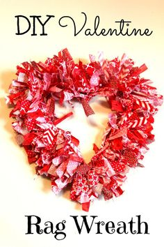 DIY Valentine Rag Wreath from Olives n Okra DIY Valentine rag wreath. A tutorial with step by step instructions on how to make a DIY Valentine rag wreath at home. Valentine Day Wreaths, Valentines Day Decorations, Valentine Day Crafts, Holiday Crafts, Valentine Ideas, Fun Crafts, Valentine Theme, Printable Valentine, Homemade Valentines