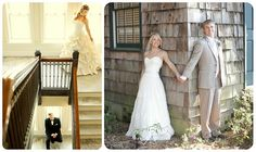 adorable wedding photos taken before the wedding so the bride and groom can't see each other