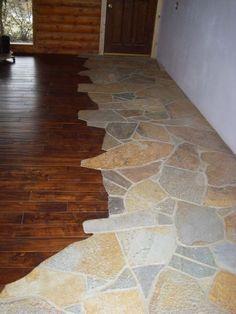 pebble+flooring+transition | stone to wood flooring transition | Wood and Stone