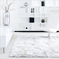 White fluffy shag area rug