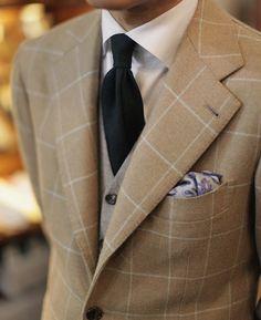 Windowpane sports coat & Wool tie & Flannel vest All at B&Tailorshop