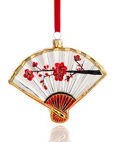 Holiday Lane Christmas Ornament, Glass Oriental Fan