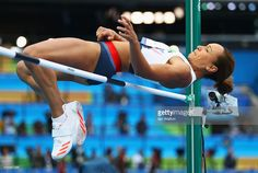 Jessica Ennis-Hill of Great Britain competes in the Women's Heptathlon High Jump…