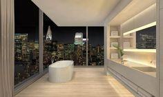 herzog & de meuron + john pawson collaborate for 215 chrystie in NYC Bathroom Tile Designs, Modern Bathroom, Small Bathroom, Washroom Design, Dream Bathrooms, Beautiful Bathrooms, Bathroom Ideas, 432 Park Avenue, John Pawson