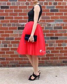 Clarisa Red Tulle Skirt - Midi – C'est Ça New York Princess Tutu, Princess Style, White Tulle Skirt, Red Tutu, Adult Tutu, Red Blouses, Dance Outfits, Ladies Dress Design, Custom Clothes