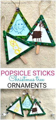 Popsicle Stick Christmas Tree Ornaments Christmas Tree Ornament made from popsicle sticks and drawings! This is a fun craft you can make with your kids! Preschool Christmas, Christmas Crafts For Kids, Christmas Activities, Kids Christmas, Holiday Crafts, Christmas Gifts, Handmade Christmas, Popsicle Stick Crafts, Craft Stick Crafts