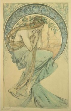 Alphonse Mucha. The Arts: study for 'Poetry' (1898)      In the final lithograph the figure of Poetry wears a dress with an ornate bust.    kThis post has 187 notes     tThis was posted 20 hours ago     rThis was reblogged from thelovelybirdsclub     Rhttp://pocketpetals.tumblr.com/post/30748572703/al...