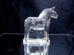 Vintage Swedish Lindhammer Dala Horse Glass sculpture, horse Paperweight, glass…