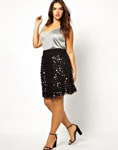 LOVE. #plussize Carmakoma Skater Skirt With Leather Look Discs