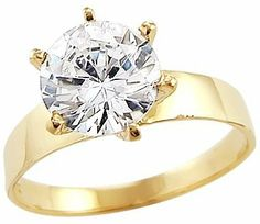 Solid 14k Yellow Gold Round Solitaire CZ Cubic Zirconia Engagement Ring Band 1.5 ct Sonia Jewels. $191.00