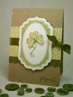 handmade St. Patrick's Day card ... neutral colors ... heart shamrock in paper piecing on a label ... lovely ...