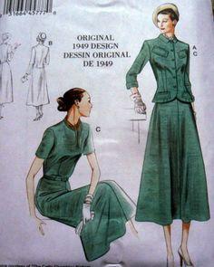 1940s-VOGUE-VINTAGE-MODEL-DRESS-JACKET-SEWING-PATTERN-16-18-20-22-24-UC