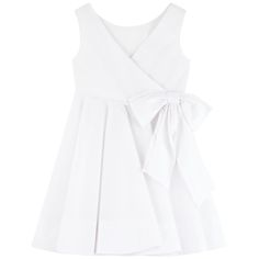Cotton percaline Dress: Light and flowing Round neckline on the front Crossover back Sleeveless Slim fit waistband Very flared bottom Pearly buttons on the side Lace trims Fancy bow - $ 118