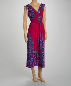 Look at this #zulilyfind! Magenta Smocked Peacock Maxi Dress - Women by jon & anna #zulilyfinds