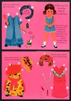 1970's NORCROSS  For a Dear NIECE Paper Doll Birthday Card