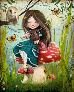 Fantasy Fairy Tale Girl Playing Violin with Owl Uma door solocosmo, $15.00