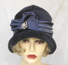 Womens Winter Hat In a 1920s Vintage Style Indigo Blue Cloche.  creationsbygail