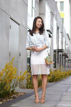 Connnietang: Dot Lace Pencil Skirt